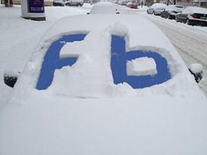 Facebook car in the snow